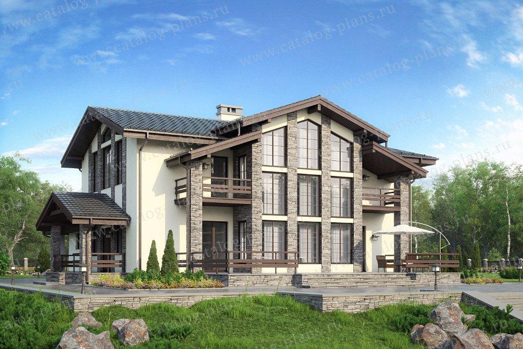 Проект жилой дом #57-82K материал - кирпич, стиль шале