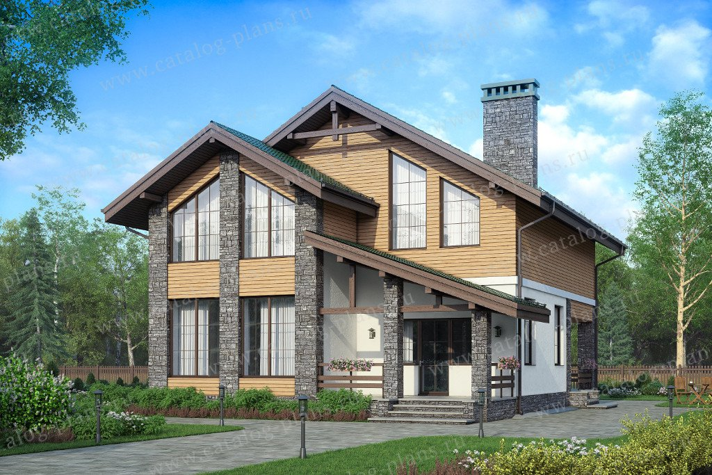 Проект жилой дом #57-84 материал - газобетон, стиль скандинавский
