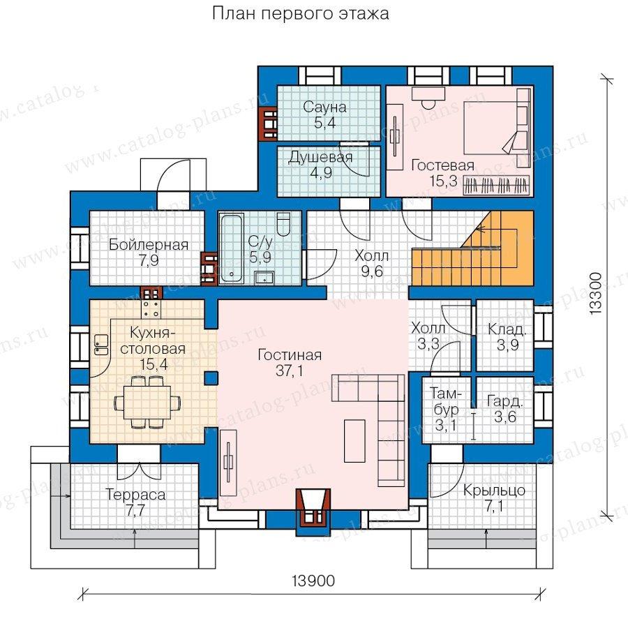 План 1-этажа проекта 57-90L