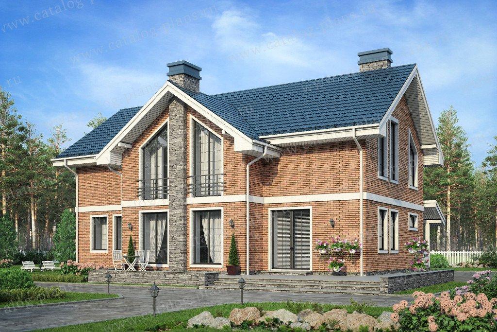 Проект жилой дом #57-85L материал - газобетон, стиль скандинавский