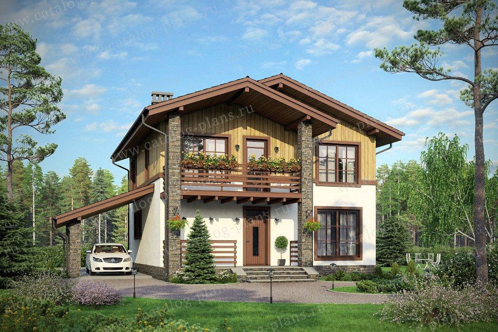 Проект жилой дом #57-91K материал - кирпич, стиль шале
