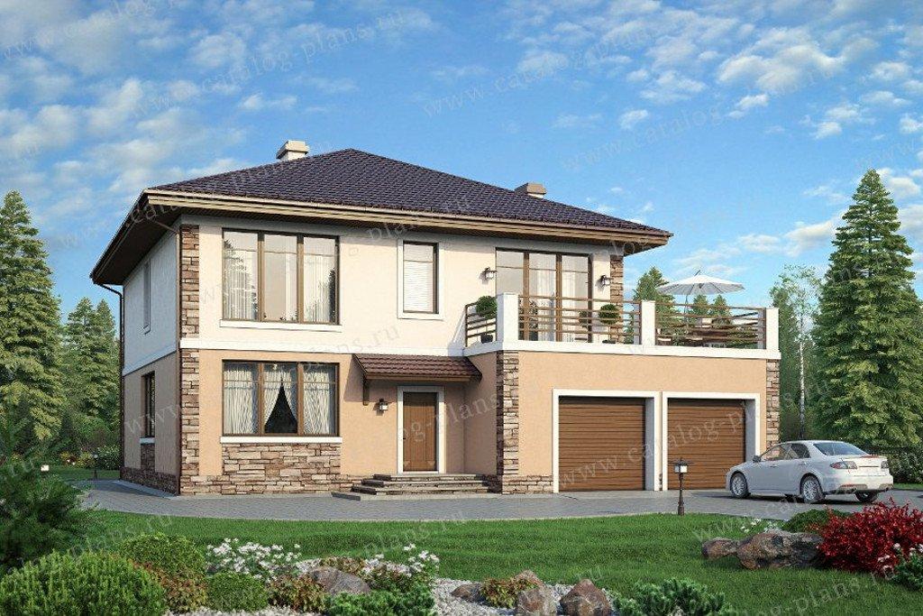 Проект жилой дом #57-87K материал - кирпич, стиль современный