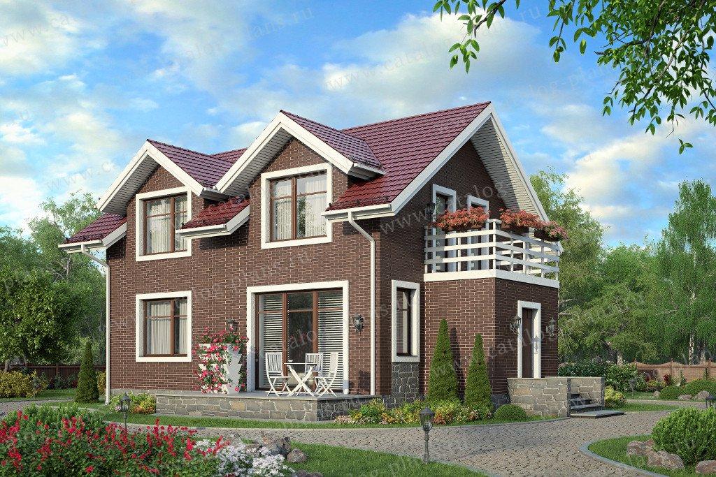 Проект жилой дом #57-89K материал - кирпич, стиль английский