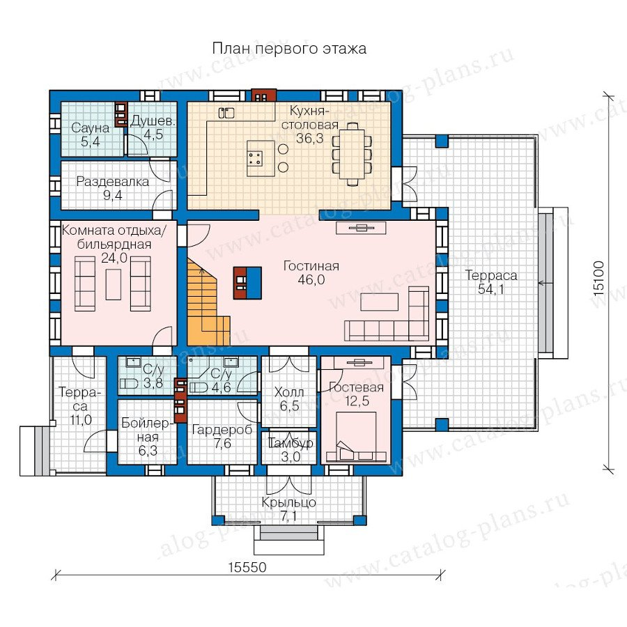 План 1-этажа проекта 57-82AK