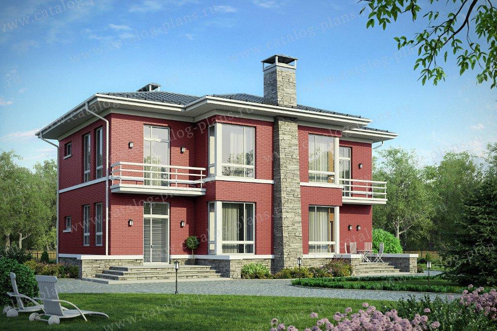 Проект жилой дом #57-90KL материал - кирпич, стиль в стиле Райта