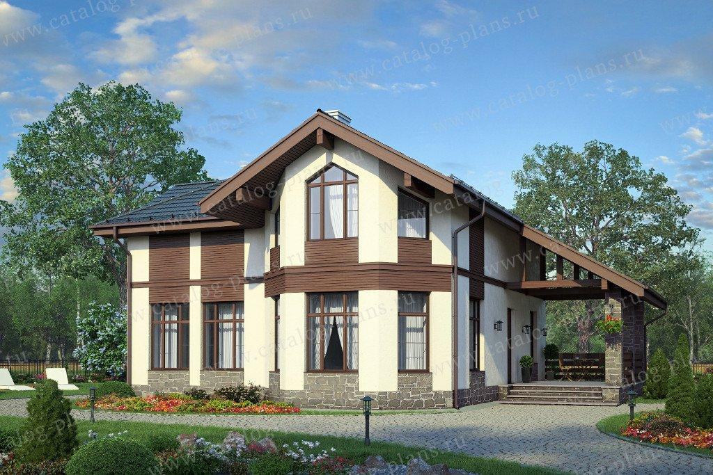 Проект жилой дом #57-79K материал - кирпич, стиль современный
