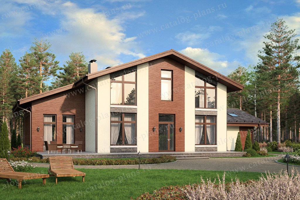Проект жилой дом #57-88 материал - газобетон, стиль скандинавский