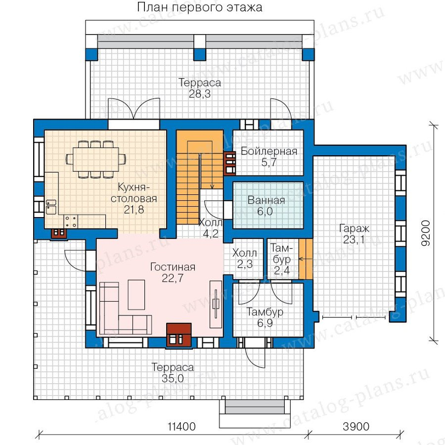 План 1-этажа проекта 57-95