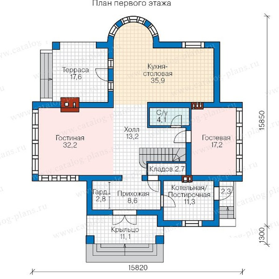 План 1-этажа проекта 57-77A