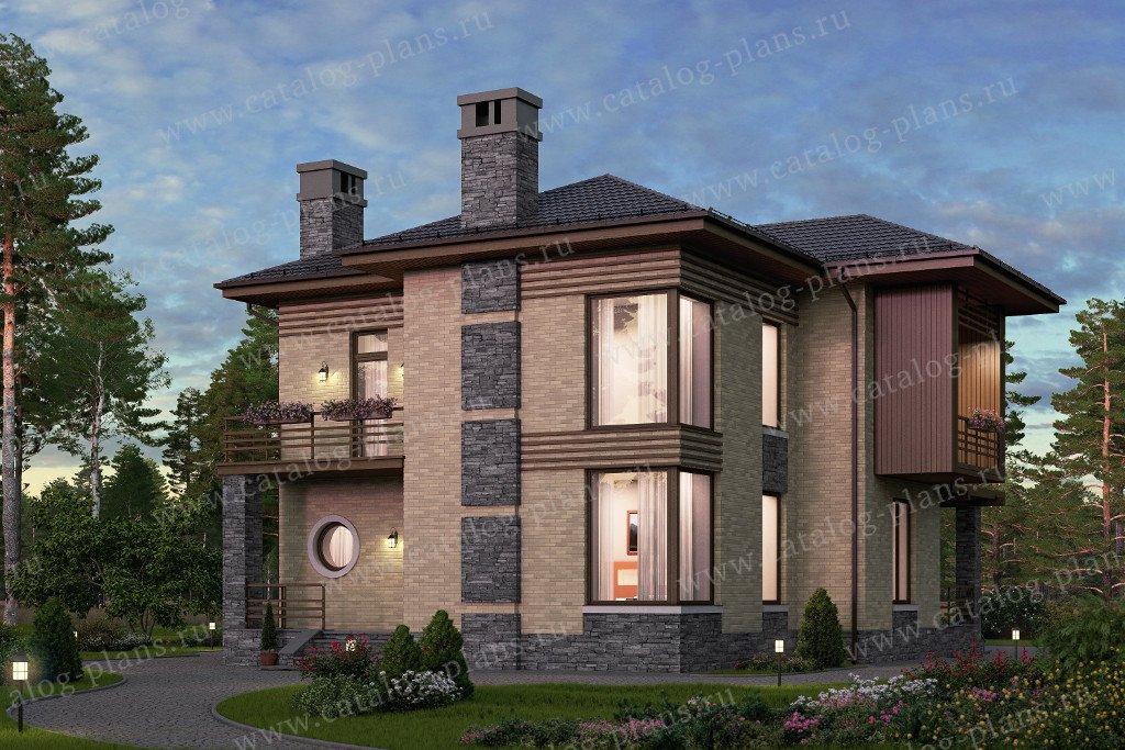 Проект жилой дом #57-68K материал - кирпич, стиль европейский