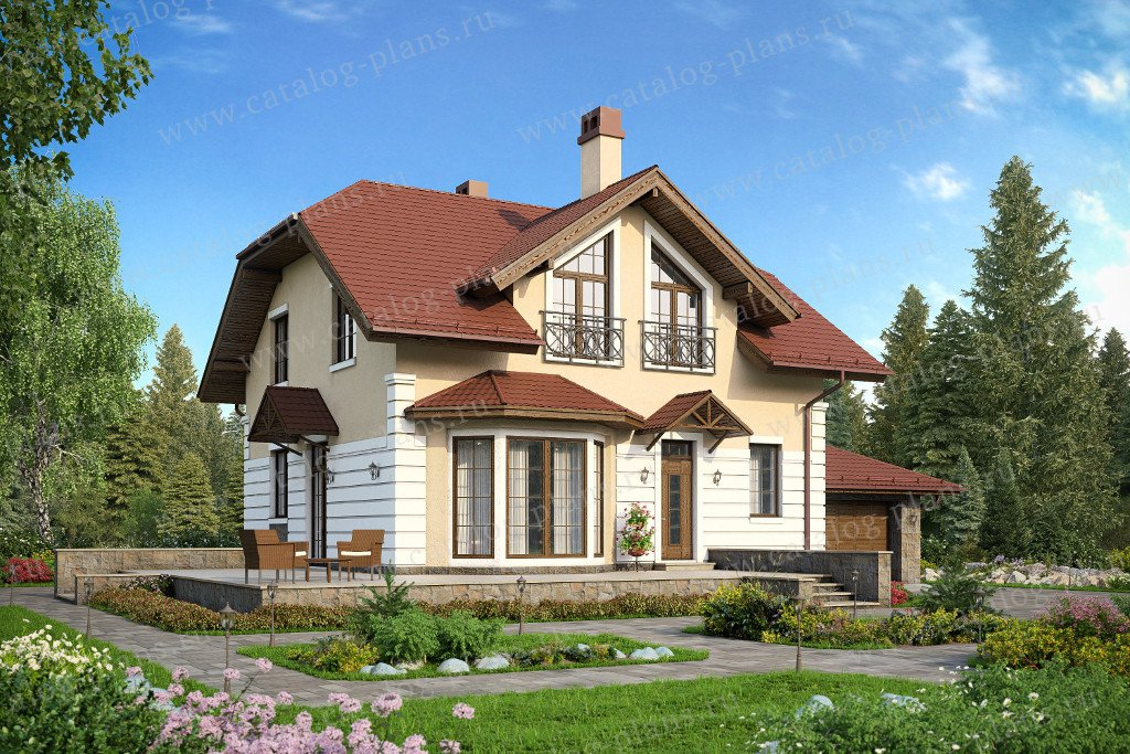 Проект жилой дом #57-75K материал - кирпич, стиль европейский