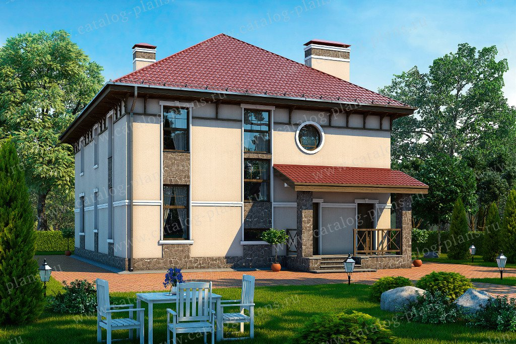 Проект жилой дом #57-47 материал - газобетон, стиль современный