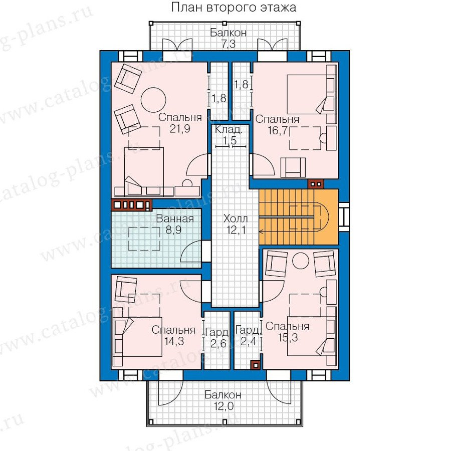 План 2-этажа проекта 57-83