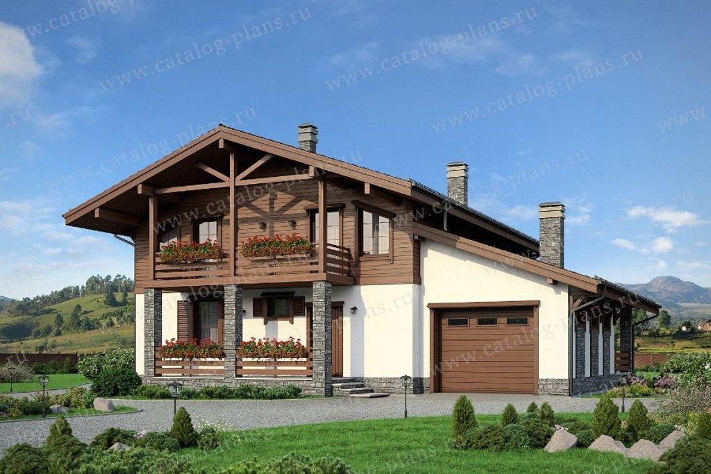 Проект жилой дом #57-83 материал - газобетон, стиль шале