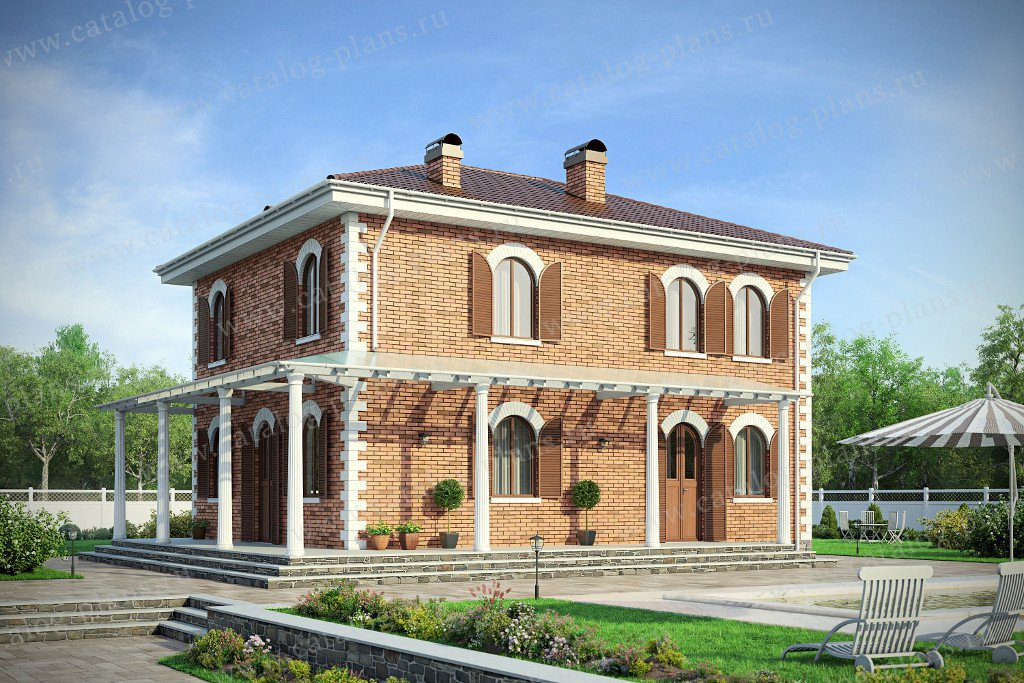 Проект жилой дом #57-93K материал - кирпич, стиль средиземный