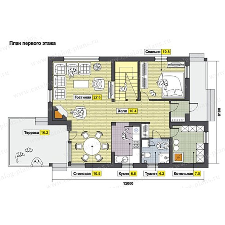 План 1-этажа проекта 49-71KR