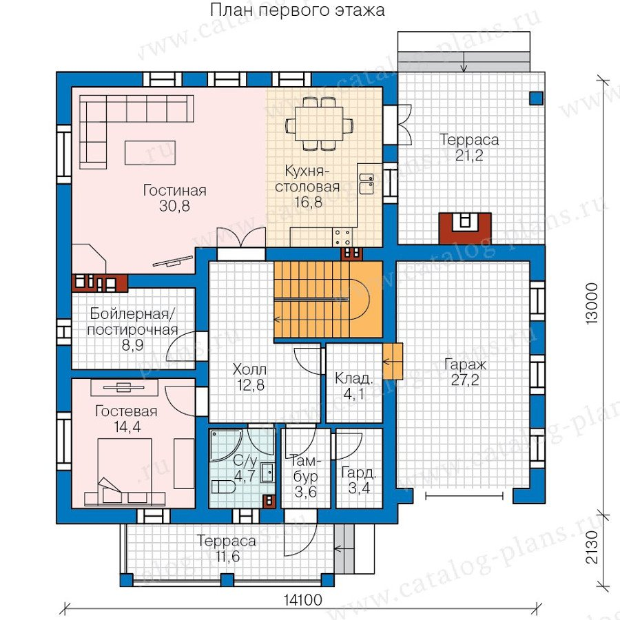 План 1-этажа проекта 57-83