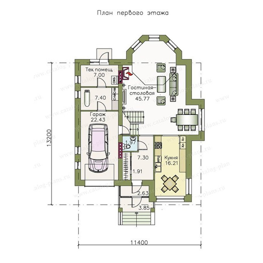 План 1-этажа проекта 48-00
