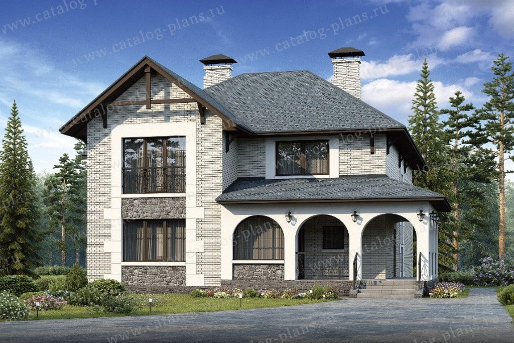 Проект жилой дом #48-07 материал - кирпич, стиль европейский