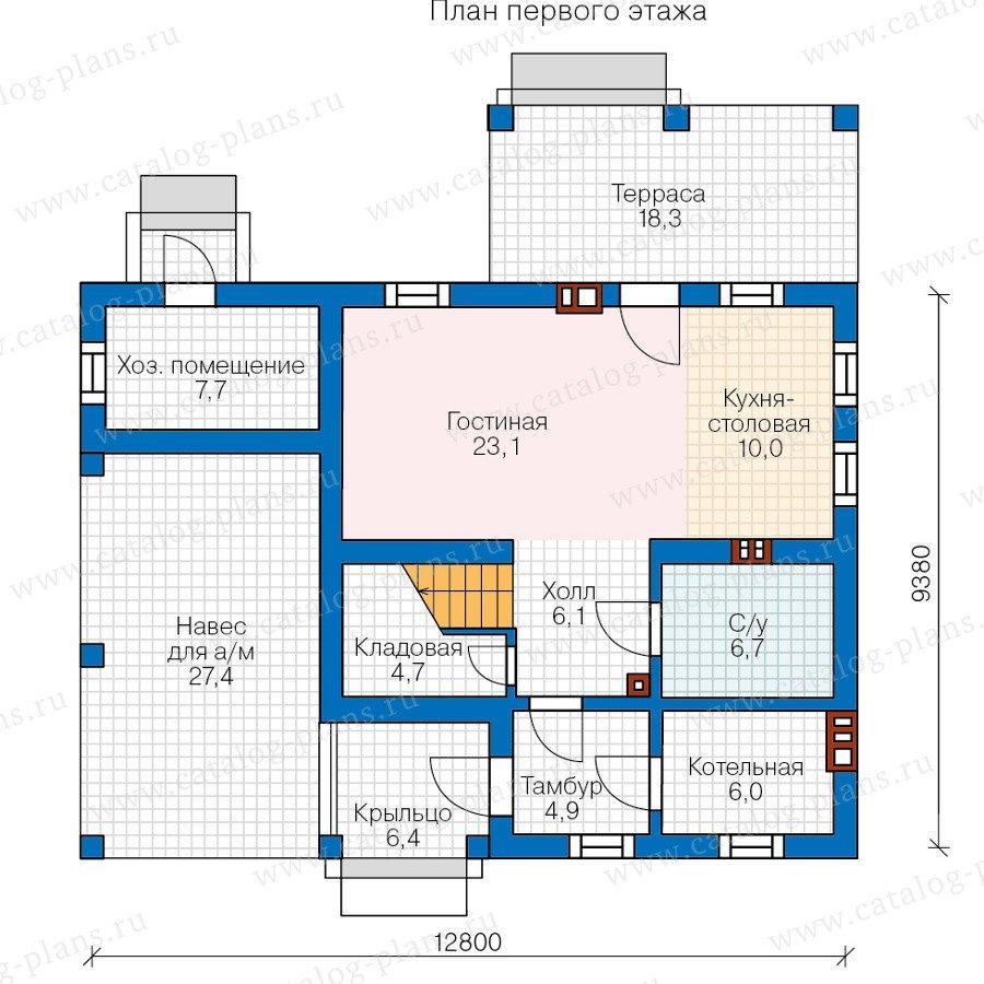 План 1-этажа проекта 48-20A