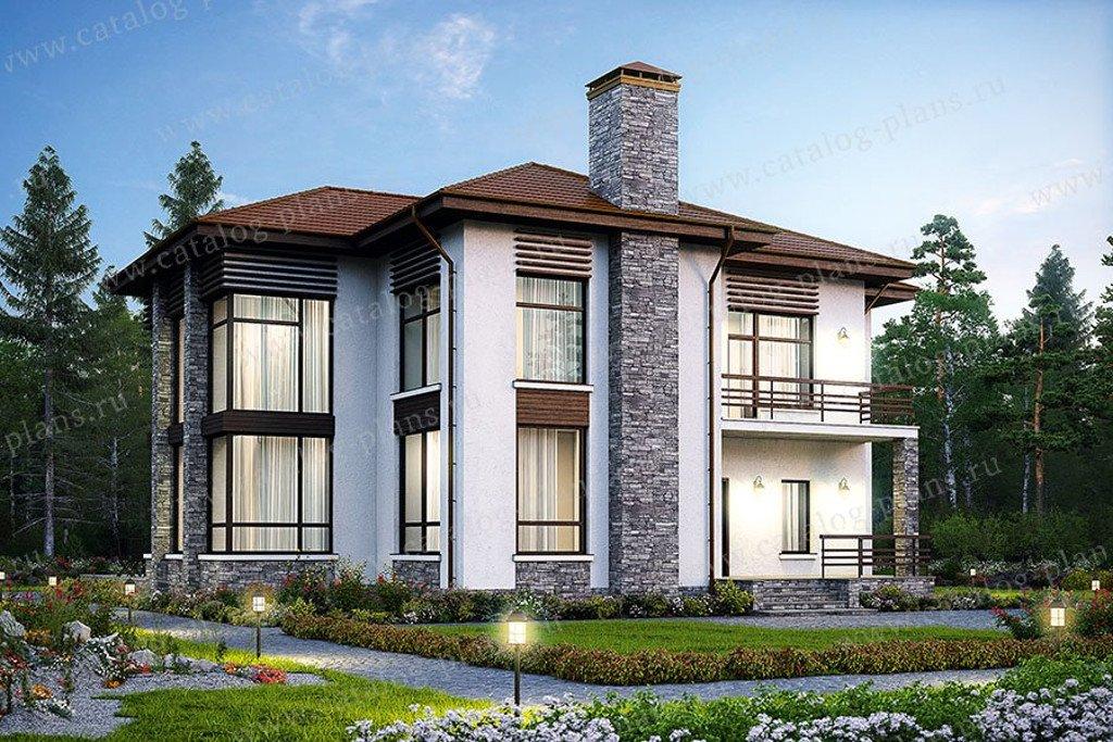 Проект жилой дом #48-24K1 материал - кирпич, стиль современный