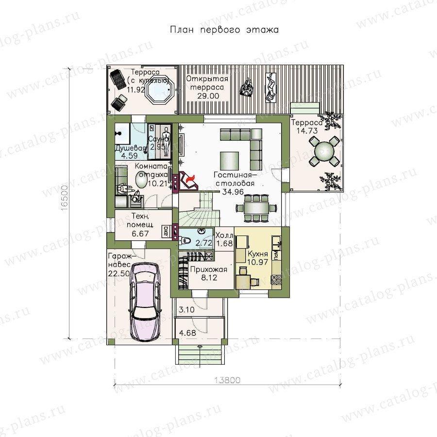План 1-этажа проекта 48-12