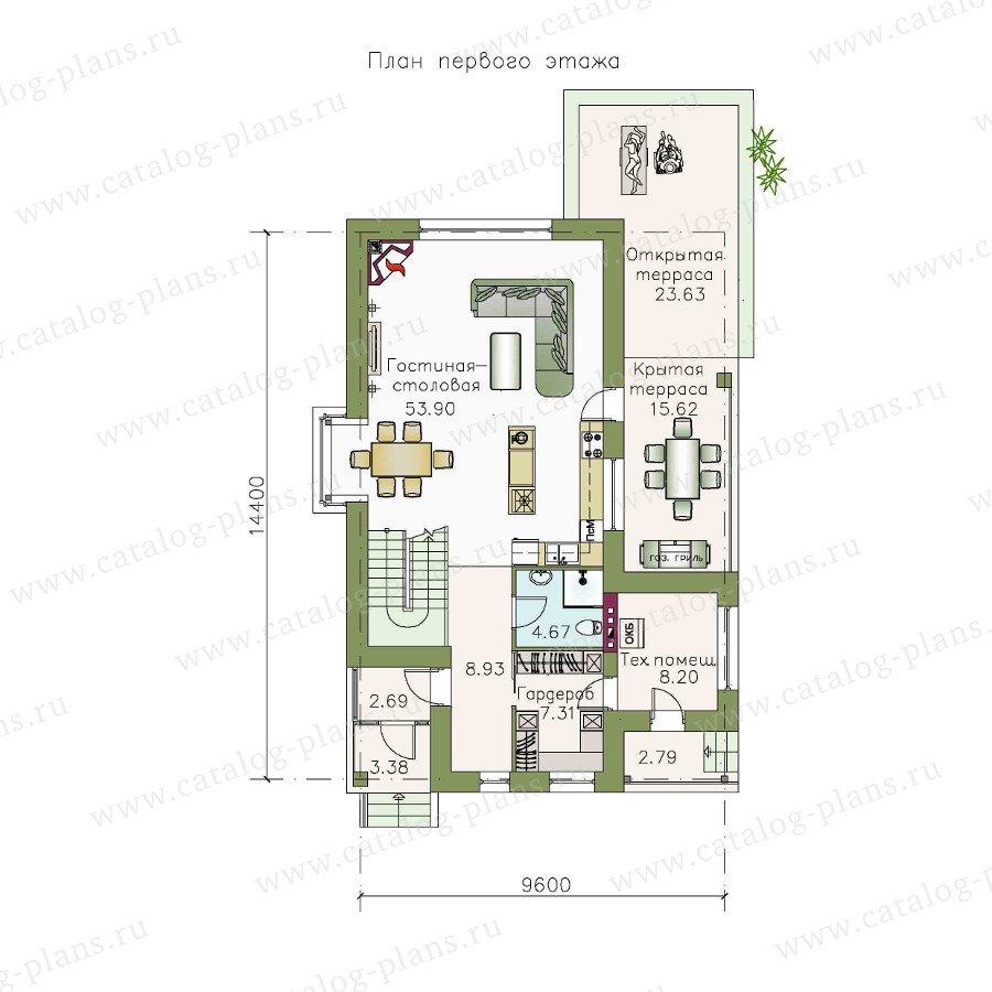 План 1-этажа проекта 48-08