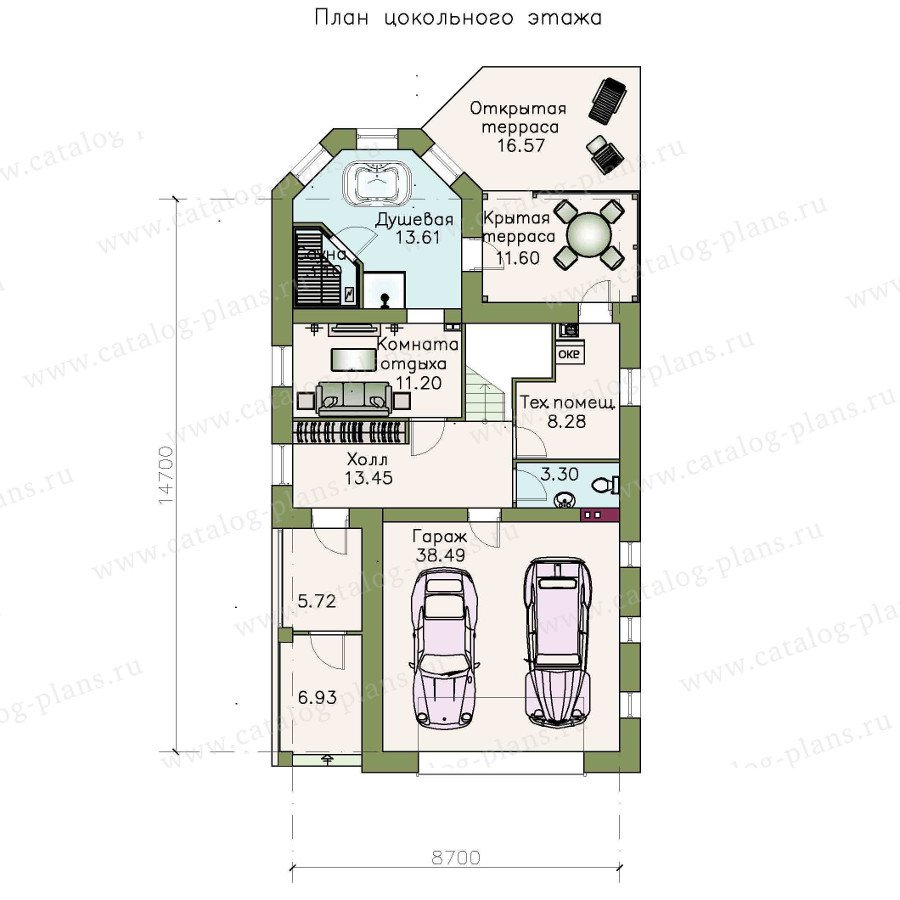 План 1-этажа проекта 48-13