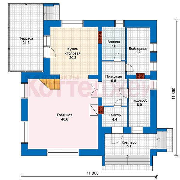План 1-этажа проекта 48-25G