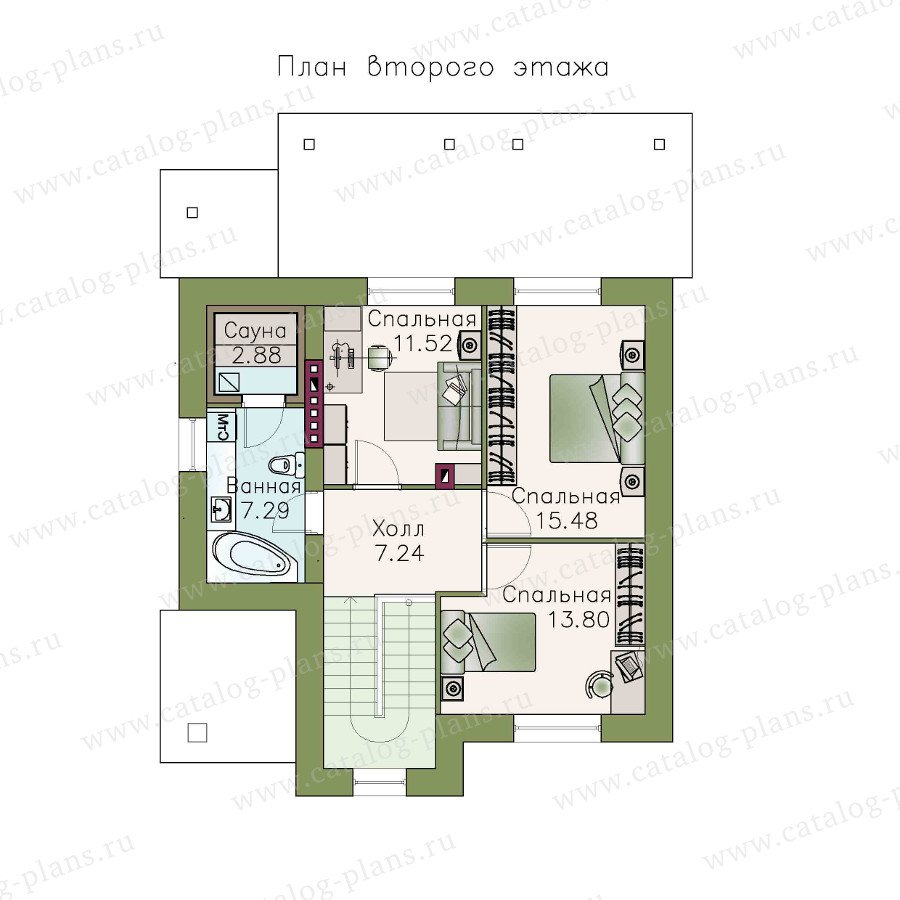 План 2-этажа проекта 48-17