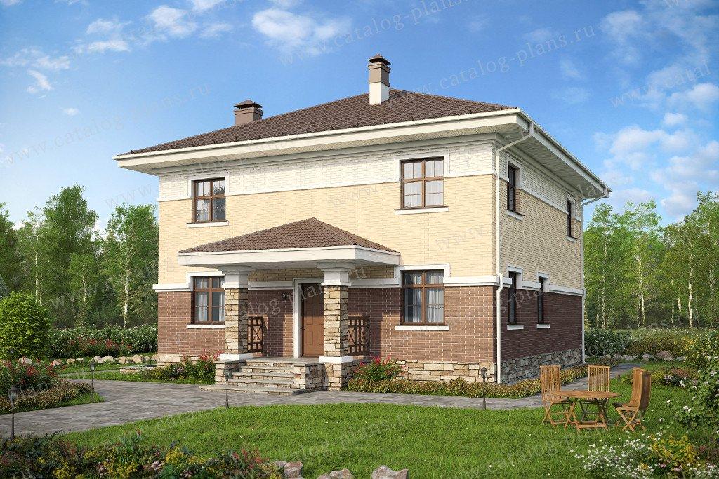 Проект жилой дом #48-28 материал - кирпич, стиль современный