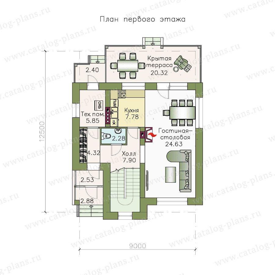 План 1-этажа проекта 48-17