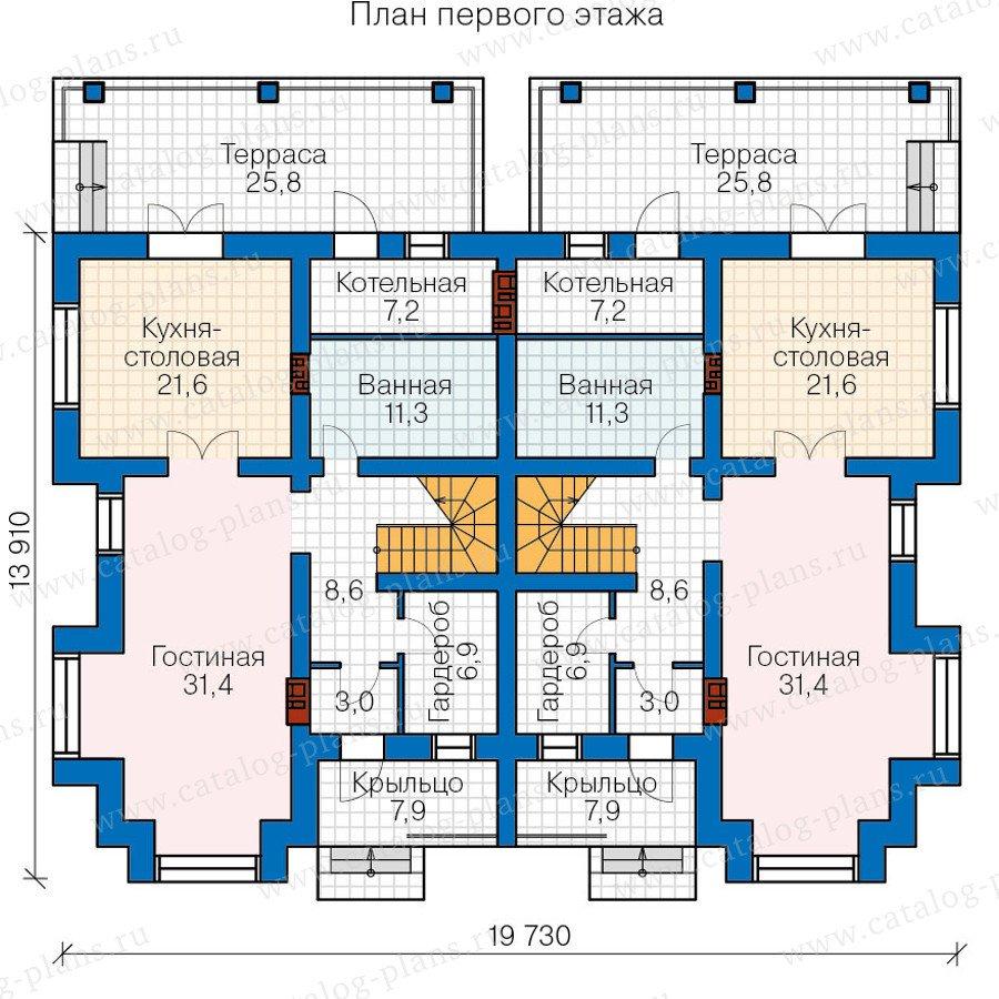План 1-этажа проекта 48-34