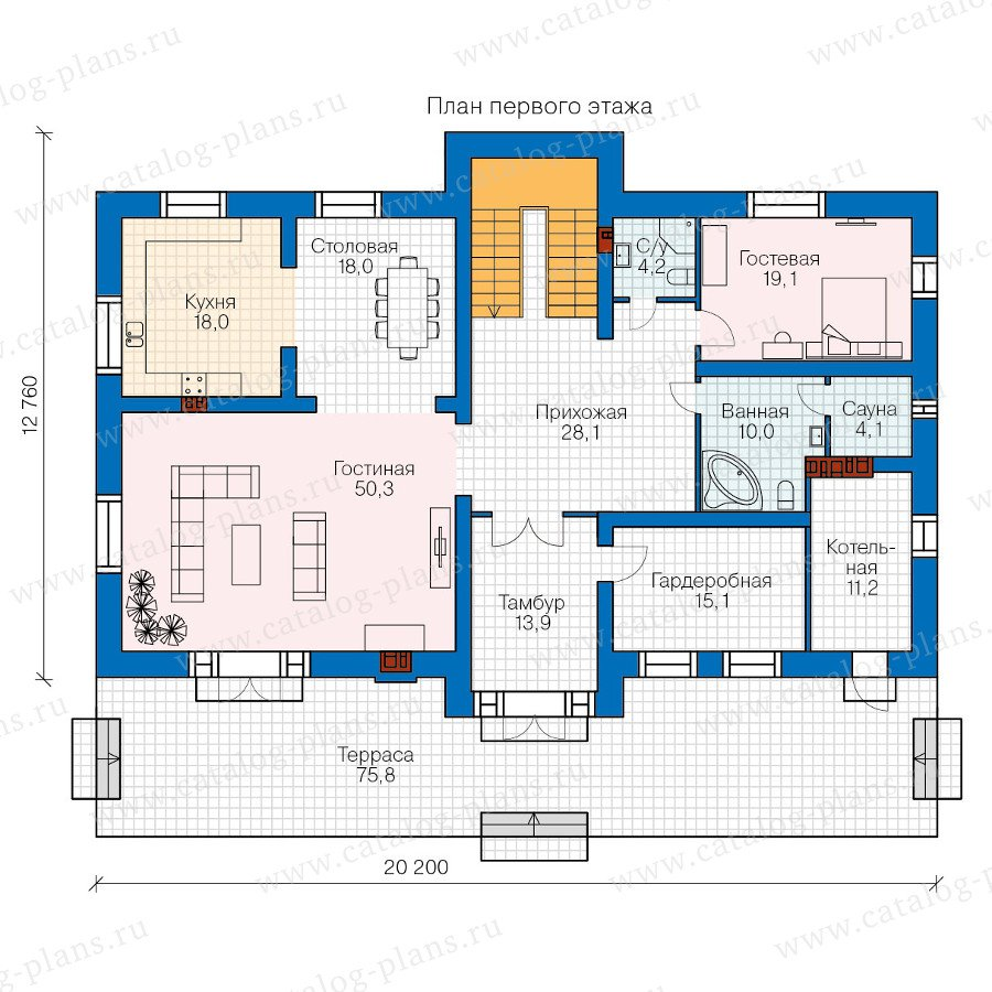 План 1-этажа проекта 48-33