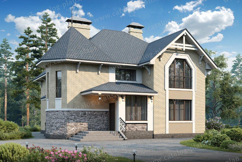 Проект жилой дом #48-11 материал - кирпич, стиль европейский