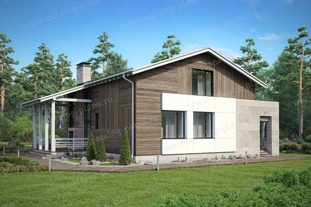 Проект жилой дом #47-33 материал - кирпич, стиль хай тек