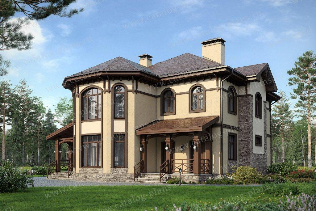 Проект жилой дом #47-28 материал - кирпич, стиль средиземный