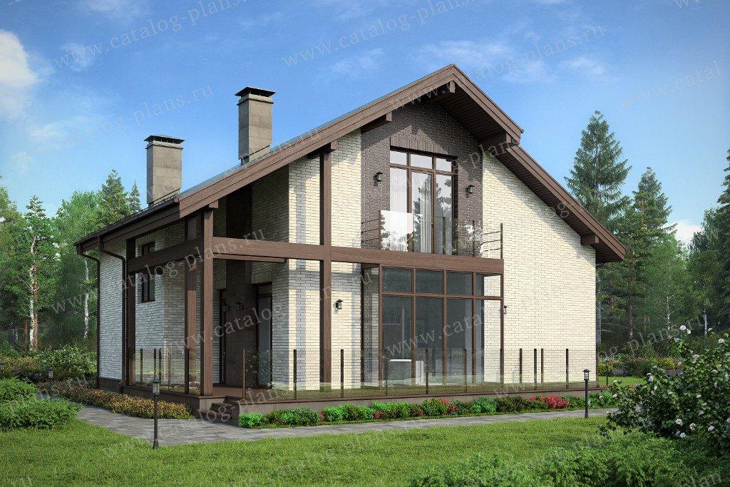 Проект жилой дом #47-31 материал - кирпич, стиль современный