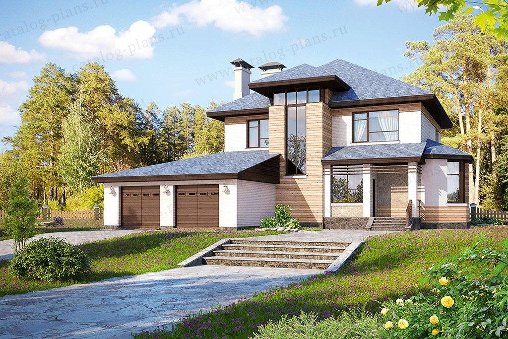 Проект жилой дом #47-13 материал - кирпич, стиль райт