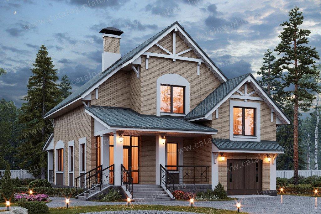 Проект жилой дом #47-03 материал - кирпич, стиль европейский
