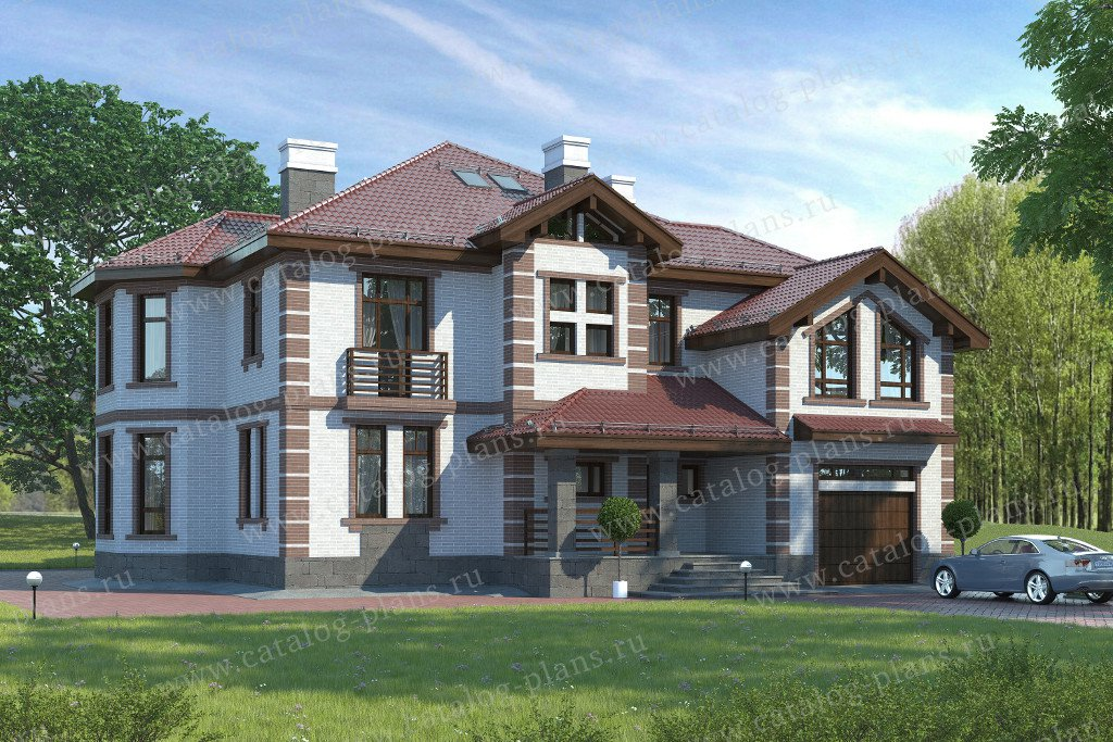 Проект жилой дом #47-36 материал - кирпич, стиль американский