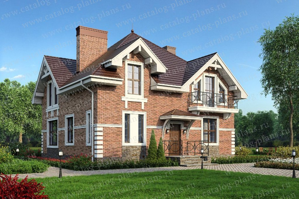 Проект жилой дом #40-07L материал - кирпич, стиль классический