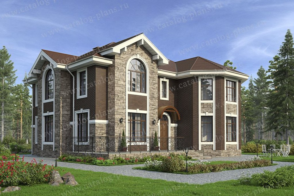 Проект жилой дом #40-11L материал - кирпич, стиль европейский