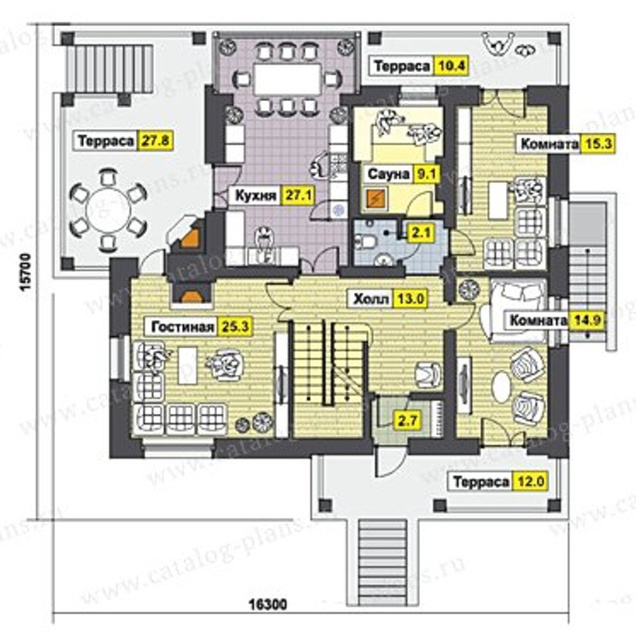 План 1-этажа проекта 47-46