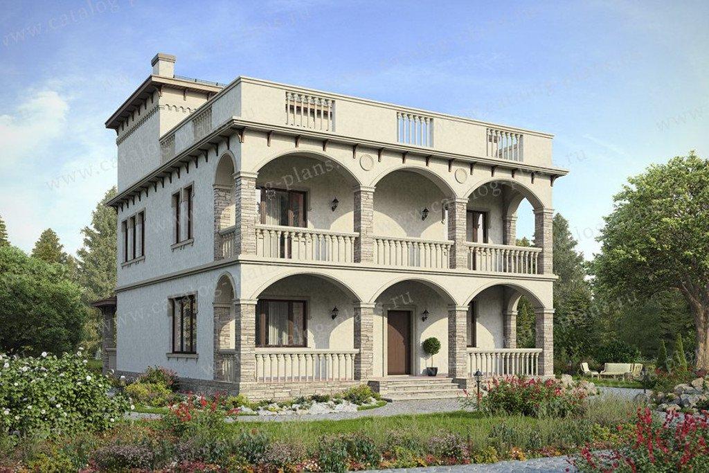 Проект жилой дом #47-44 материал - кирпич, стиль итальянский