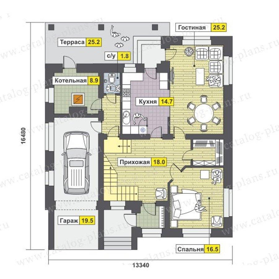 План 1-этажа проекта 47-45