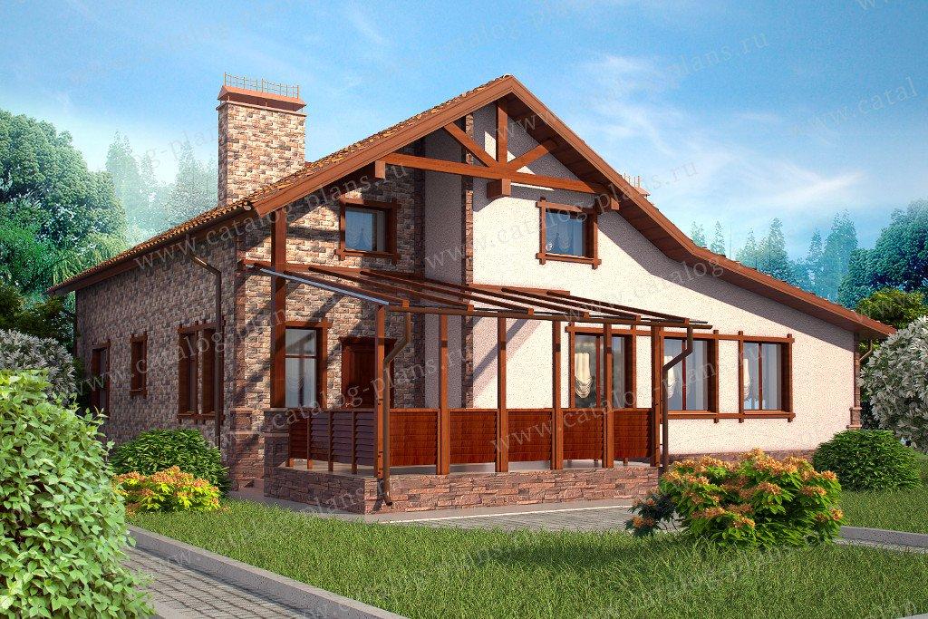 Проект жилой дом #47-41 материал - кирпич, стиль норвежский