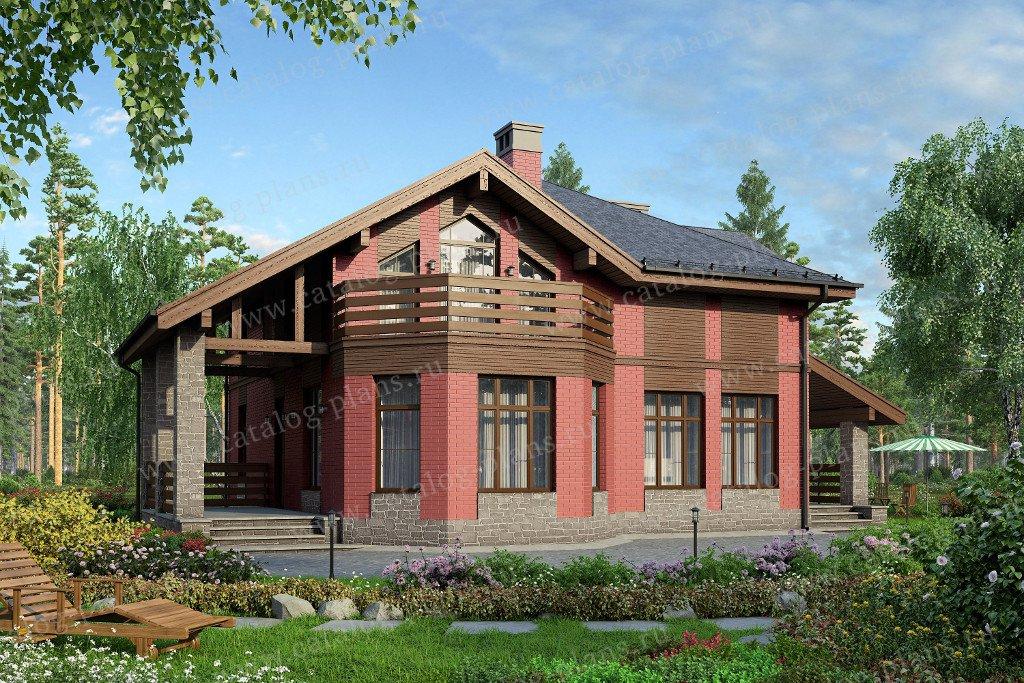 Проект жилой дом #40-16L материал - кирпич, стиль скандинавский