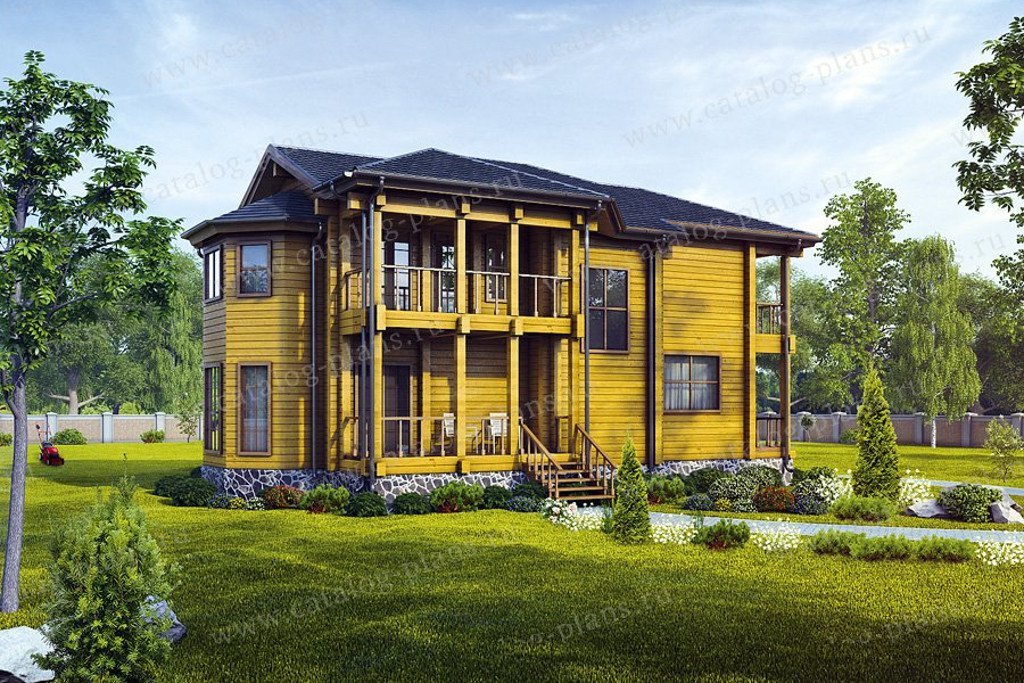 Проект жилой дом #13-40 материал - дерево, стиль русская усадьба