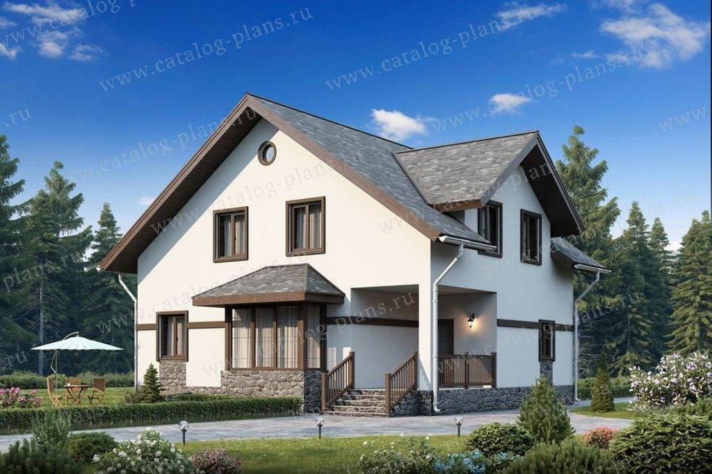 Проект жилой дом #56-98K материал - газобетон, стиль европейский